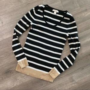 Banana Republic Silk B&W Stripe Sweater